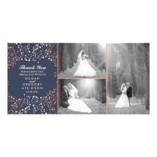 Der Atem-Hochzeits-Foto des Rosen-Goldbabys danken Karte