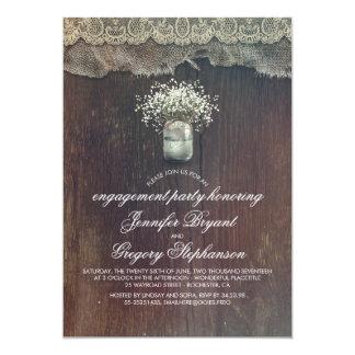 Der Atem-Maurer-Glas-rustikales Verlobungs-Party 12,7 X 17,8 Cm Einladungskarte