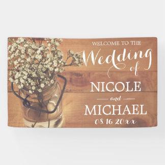 Der Atem-Weckglas-hölzerne Hochzeit des rustikalen Banner