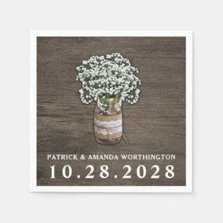 Der Atem-Weckglas-rustikale Hochzeits-Servietten Papierserviette