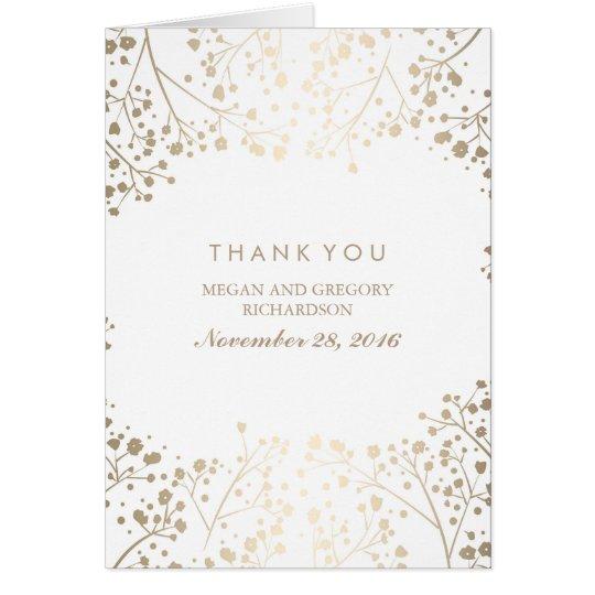 Der Atem-weiße Hochzeit des Goldbabys danken Ihnen Mitteilungskarte