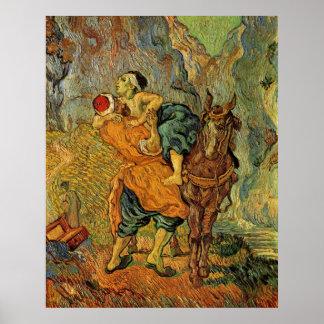Der barmherzige Samariter nach Delacroix durch Van Poster