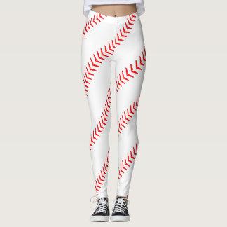 Der Baseball der Frauen näht (Nähte) weiße Leggings