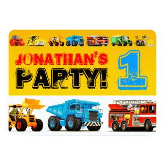 Der Bau-LKW-1. Geburtstags-Party des Baby-Jungen Karte