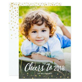 Der Beifall des neuen Jahres zu Goldconfetti-Foto 12,7 X 17,8 Cm Einladungskarte