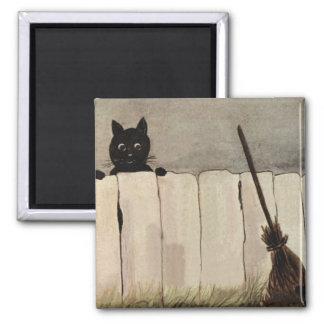 Der Besen der schwarze Katzen-Zaun-Hexe Quadratischer Magnet