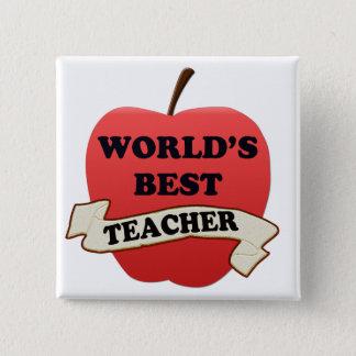 Der beste Lehrer der Welt Quadratischer Button 5,1 Cm