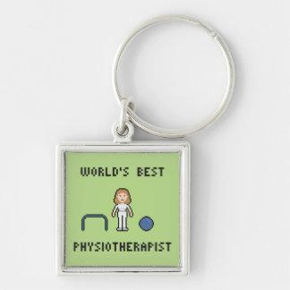 Der beste Physiotherapeut Keychain 8 Bit-Welt Schlüsselanhänger