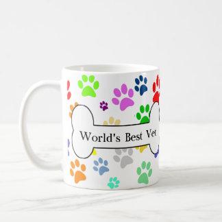 der beste Tierarzt der Welt bunte Haustier-Tatzen Kaffeetasse