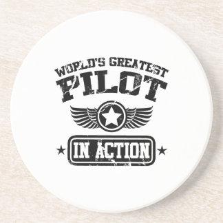 Der bestste Pilot der Welt in der Aktion Sandstein Untersetzer