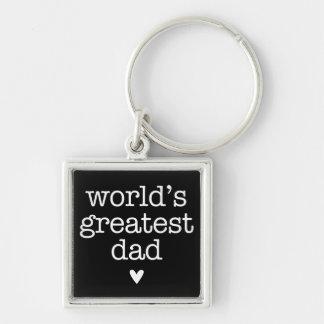 Der bestste Vati der Welt mit dem Vatertag Herz- Silberfarbener Quadratischer Schlüsselanhänger