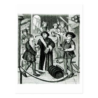 Der Bischof von Tournai den Tithe des Bieres Postkarte