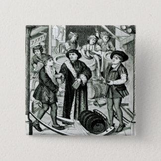 Der Bischof von Tournai den Tithe des Bieres Quadratischer Button 5,1 Cm