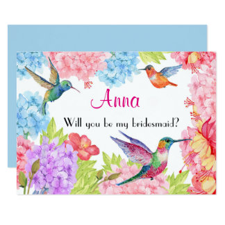 Der Blumen Kolibri ist meine Brautjungfer? Karte