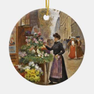 Der Blumen-Verkäufer Rundes Keramik Ornament