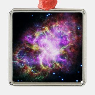 Der Chandra Röntgenstrahl im Krabben-Nebelfleck Quadratisches Silberfarbenes Ornament