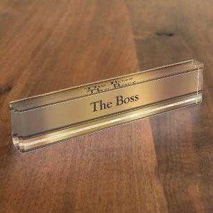 Der Chef-Führungskraft-Schreibtisch-Namen-Teller Namensplakette
