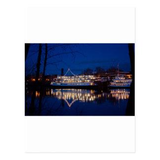 Der Deltakönig nachts - Sacramento, CA Postkarte