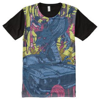 Der Drache und ein Auto T-Shirt Mit Komplett Bedruckbarer Vorderseite