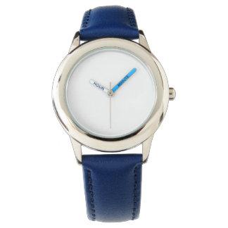 Der Edelstahl-Blau-Lederband-Uhr des Kindes Uhr