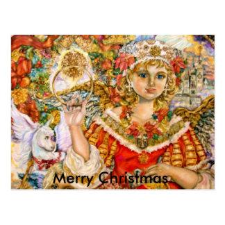 Der Engel der Poinsettias., frohe Weihnachten Postkarte