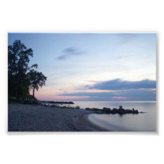 Der Eriesee-Strand im Abends-Foto-Druck Kunstfoto