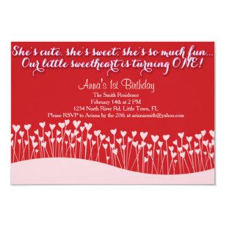 Der erste Geburtstag des Valentinsgrußes 8,9 X 12,7 Cm Einladungskarte