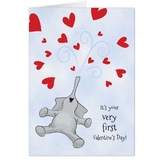 Der erste Valentinstag, der Elefant u. die Herzen Grußkarte