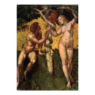 Der Fall - Adam und Eve durch RAPHAEL oder Ankündigungskarte