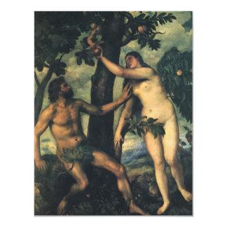 Der Fall des Mannes; Adam und Eve durch Titian 10,8 X 14 Cm Einladungskarte