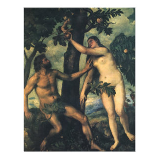 Der Fall des Mannes; Adam und Eve durch Titian Personalisierte Ankündigungskarte