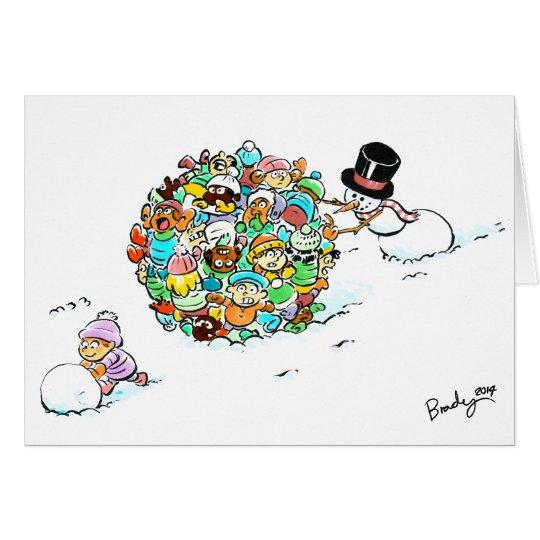 Der Feiertags-Spaß-Gruß-Karte des Schneemanns Karte