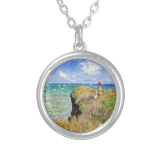 Der Felsen von Pourville von Claude Monet Versilberte Kette
