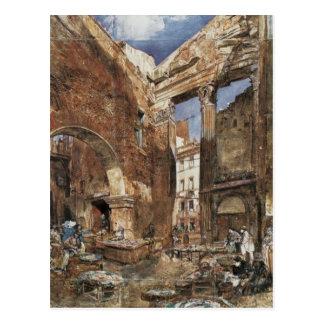 Der Fischmarkt in Rom durch Rudolf von Alt Postkarte