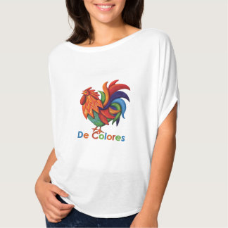 Der Flowy Frauen De Colores Rooster Gallo T-Shirt