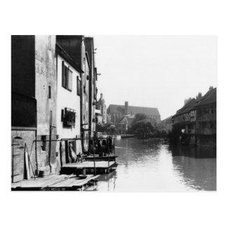Der Fluss Gera in Erfurt, Thiringia, c.1910 Postkarte