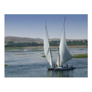Der Fluss Nil und Segelboote wie benutzt Postkarte