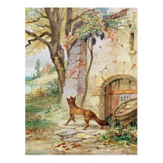 Der Fox und die Trauben, Illustration für Postkarte