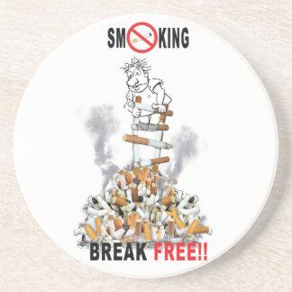 Der freie Bruch - stoppen Sie zu rauchen Sandstein Untersetzer