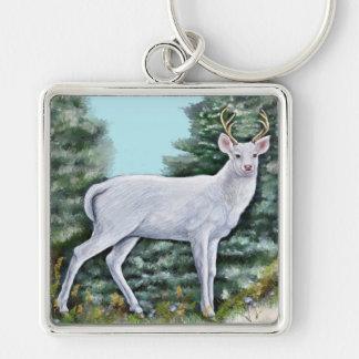 Der Frost-Hirsch Silberfarbener Quadratischer Schlüsselanhänger