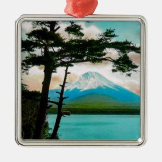 Der Fujisan durch das Kiefern Vintage japanische Quadratisches Silberfarbenes Ornament
