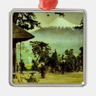 Der Fujisan durch die Kiefern von Suzukawa Vintag Silbernes Ornament