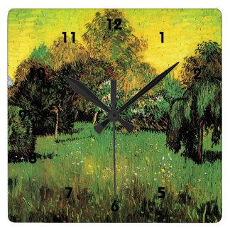 Der Garten des Dichters durch Vincent van Gogh. Quadratische Wanduhr