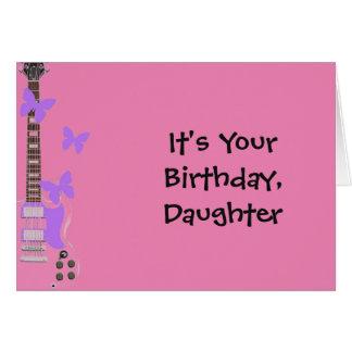 Der Geburtstag der Tochter, rosa Gitarre, Grußkarte
