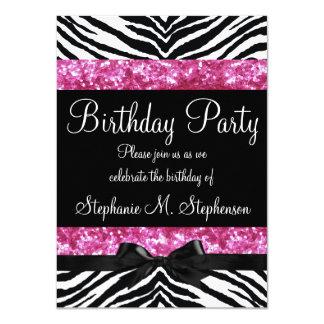 Der Geburtstag des Pink-Scheinzebra-Mädchens 11,4 X 15,9 Cm Einladungskarte
