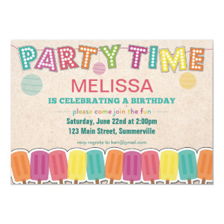 Children's Birthday Invitation - Party Time