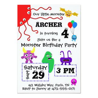 Der Geburtstags-Einladung des Monster-Kindes - Karte