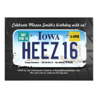 Der Geburtstags-Iowa-Lizenz-Einladung des Jungen 12,7 X 17,8 Cm Einladungskarte
