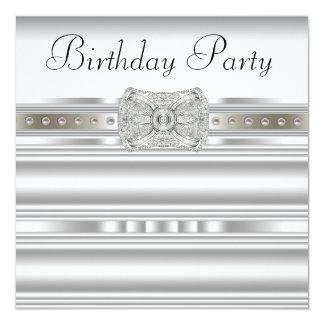 Der Geburtstags-Party der reinen weißen Quadratische 13,3 Cm Einladungskarte