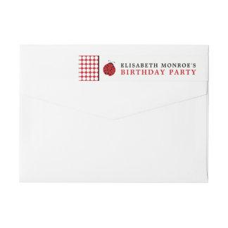 Der Geburtstags-Party der rote Marienkäfer-Kinder Absender Adressband